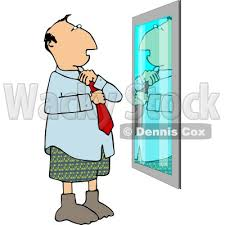 Putting Business Tie On In Front Of Mirror Clipart