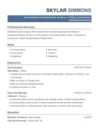 View Resume Game Designer