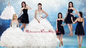 white ball gown quinceanera dress and black sweetheart short dama