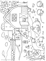 Farm Yard Animal Coloring Page Lambs In Spring