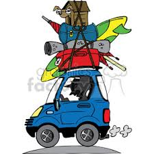 Vacation Travel Clipart Luggage Stacked On Roof Of Car