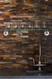 Copper Tiles For Backsplash by Living Room Wet Bar Nook With Copper Mosaic Tile Backsplash