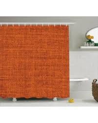 New Savings on Orange Shower Curtain Set Faded Burlap Texture