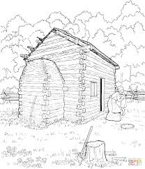 Click The Abraham Lincoln Log Cabin Coloring Pages