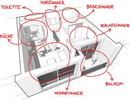 perspective cut away diagram of a one bedroom apartment