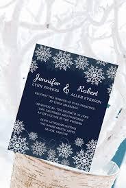 Navy Blue Snowflake Winter Wedding Invitation Cards