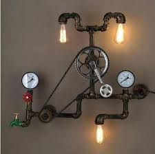 Pipe Light Fixture Loft Style Iron Water Lamp Wall Sconce Retro Gear Fixtures