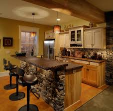 Kitchen Beautiful Rustic Kitchens Dark Brown Painted Cherry Island Beige Floor Tiles Black Gloss Cabinets