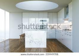 Modern White Kitchen Interior 3d Rendering Stockfoto Und White Contemporary Kitchen In New Interior With Beautiful