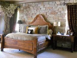 Rustic Bedroom Design Ideas Block Brown Wooden Stand Placed Off White Bed Sheet Large Carpet On Dark Floor