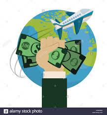 Travel World Around Hand Hold Money Plane Vector Illustration Eps 10