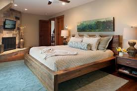 Bedroom Wooden Platform Bed Frames And Detached Headboard Rustic Country Style Furniture Storage Beds