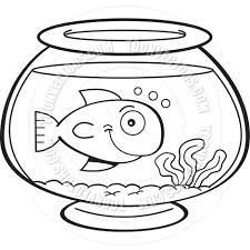 Cartoon Fish In A Bowl Black And White Line Art