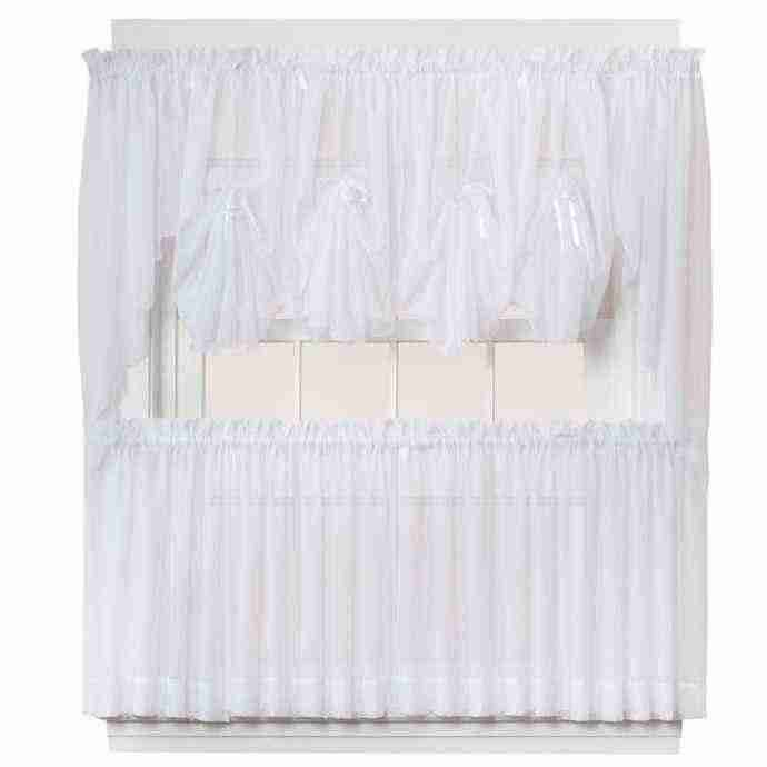 "Emelia 30"" Sheer Window Curtain Tier Pair in White"