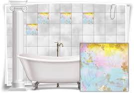 fliesenaufkleber fliesen aufkleber vintage nostalgie retro gelb mint rosa küche bad wc deko