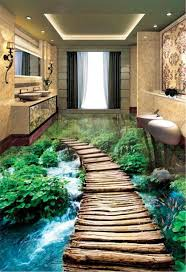 großhandel individuelle tapeten 3d kleine brücke wasser badezimmer 3d fußboden innenmauer tapete yunlin188 19 85 auf de dhgate dhgate
