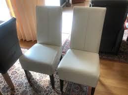2 weiße esszimmerstühle in voll leder