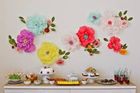 Make Your Home Wall Beautiful By White 3d Paper Flower Hanging Colorful Look Rectaangular Table