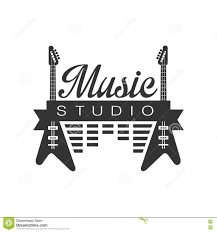 Download Music Record Studio Black And White Logo Template With Sound Recording Retro Elements Silhouettes Stock