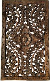 Wood Carved Wall Panel Hand Floral Art Decor Rustic