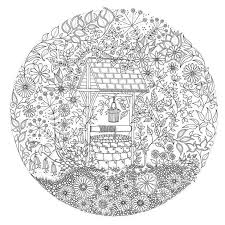 Wishing Well Flowers Garden Coloring For Adults