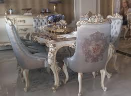 casa padrino luxus barock esstisch silber creme gold handgefertigter massivholz esszimmertisch möbel im barockstil edel prunkvoll
