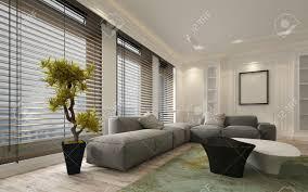 fancy wohnung wohnzimmer zwischen mit großen boden bis zur decke fenster jalousien und weichen grauen modulsofa inklusive leere wände und