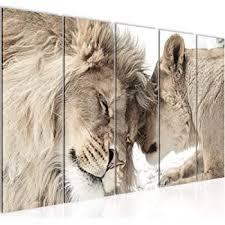 bilder löwen liebe wandbild 150 x 75 cm vlies leinwand bild