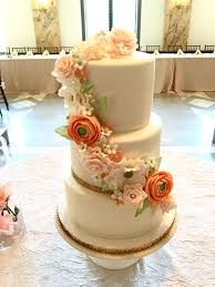 Wedding Cake With Coral Flowers