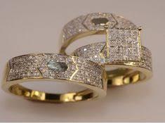 Diamond Wedding 14K Yellow Gold FN Trio His Her Bridal Band
