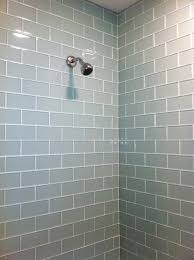 Vapor Light Blue Glass Subway Tile by Top Subway Tile Showers Images About Tile Trim On Shower Wall On
