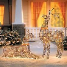 Set Of 2 Lighted Rustic Grapevine Deer Doe Buck Outdoor Christmas Yard Decor