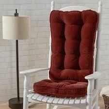 100 The Gripper Twill 2 Pc Rocking Chair Pad Set Cushion Polar Chenille Garnet Jumbo Cushion