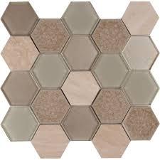 monterra blend hexagon 12 in x 12 in x 8 mm marble mesh mounted
