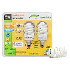 shop sylvania 2 pack 60 w equivalent soft white a19 cfl light