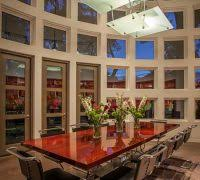 Dallas Modern Conference Dining Room Contemporary With Pendant Light Chairs Glass Wall