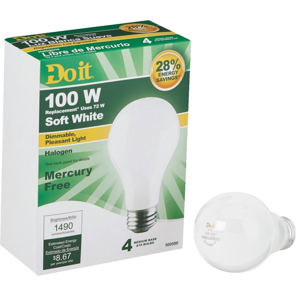 Do It A19 Halogen Light Bulb - 322628
