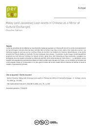 si鑒e de pellet and javanese loan words in as a mirror of cultural