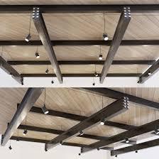 100 Wooden Ceiling Ceiling On Metal Beams 23 3D Model