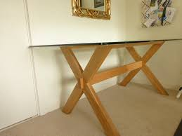 Six Seater Glass Oak Dining Table