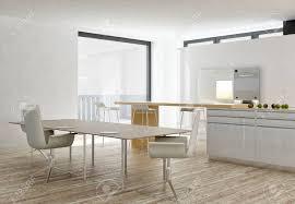 moderne weiße küche und esszimmer interieur mit holzboden