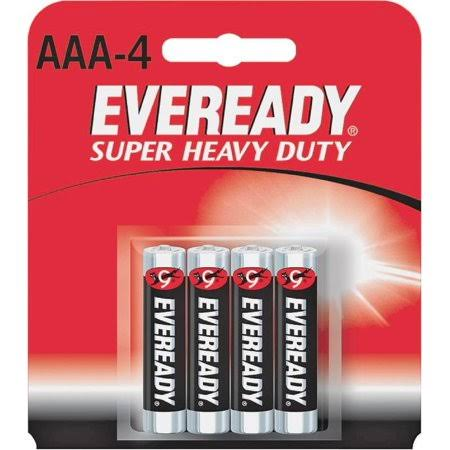 Eveready Super Heavy Duty Batteries - AAA, 4 Count