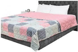 barcoo tagesdecke patchwork rosa grau anthrazit 220 x 240