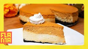 Pumpkin Layer Cheesecake by Thanksgiving Treat Double Layer Cheesecake Pumpkin Pie Youtube