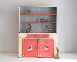What Is A Hoosier Cabinet by Tin Toy Hutch Vintage Kitchen Cupboard Miniature Metal