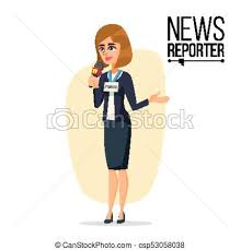 Female Journalist Vector Microphone Professional Reporter Isolated Flat Cartoon Character