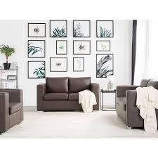 sofa braun spaltleder 2 sitzer minimalistisch wohnzimmer