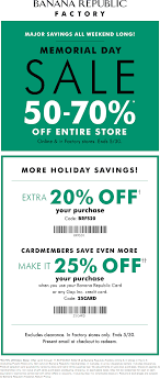 Pinned May 25th: Extra 50-70% Off + 20% More On Everything At ... Sales Tax Holiday Coupons Bana Republic Factory Outlet 10 Off Republic Outlet Canada Coupon 100 Pregnancy Test Shop For Contemporary Clothing Women Men Money Saver Up To 70 Fox2nowcom Code Bogo Entire Site 20 Off Party City Couons 50 Coupons Promo Discount Codes Gap Factory Email Sign Up Online Sale Banarepublicfactory Hashtag On Twitter Extra 15 The Krazy Free Shipping Codes October Cheap Hotels In Denton Tx