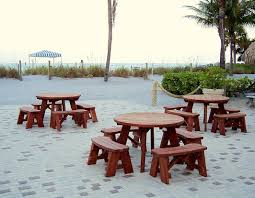 round concrete picnic tables give a little enhancement for your