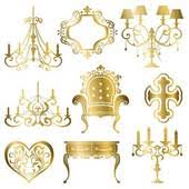 Gold Antique Design Element Set